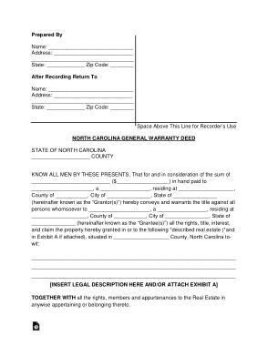 Free Download PDF Books, North Carolina General Warranty Deed Form Template