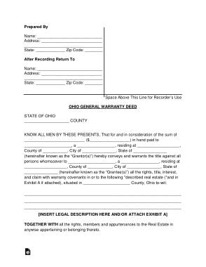 Free Download PDF Books, Ohio General Warranty Deed Form Template