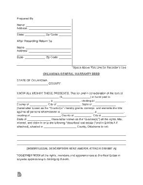 Free Download PDF Books, Oklahoma General Warranty Deed Form Template