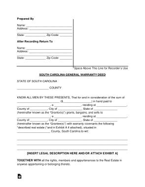 Free Download PDF Books, South Carolina General Warranty Deed Form Template