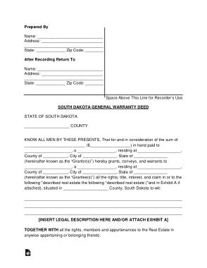 Free Download PDF Books, South Dakota General Warranty Deed Form Template
