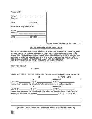 Free Download PDF Books, Texas General Warranty Deed Form Template