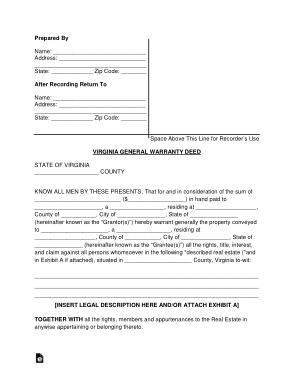 Free Download PDF Books, Virginia General Warranty Deed Form Template