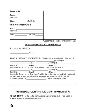 Free Download PDF Books, Washington General Warranty Deed Form Template