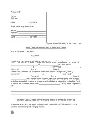 Free Download PDF Books, West Virginia General Warranty Deed Form Template