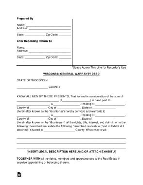 Free Download PDF Books, Wisconsin General Warranty Deed Form Template