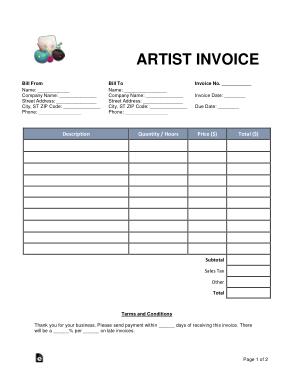 Free Download PDF Books, Artist Invoice Form Template