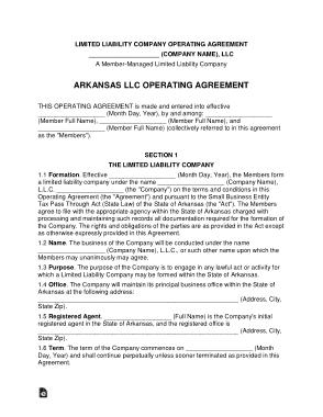 Free Download PDF Books, Arkansas Multi Member LLC Operating Agreement Form Template