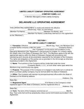 Free Download PDF Books, Delaware Multi Member LLC Operating Agreement Form Template