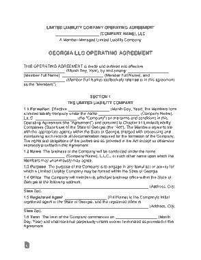Free Download PDF Books, Georgia Multi Member LLC Operating Agreement Form Template