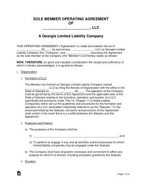 Free Download PDF Books, Georgia Single Member LLC Operating Agreement Form Template