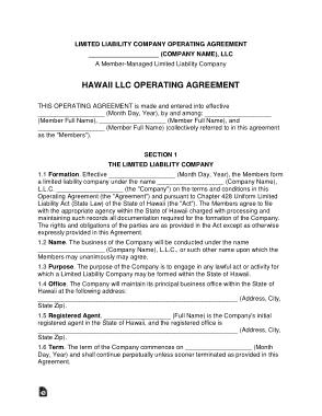 Free Download PDF Books, Hawaii Multi Member LLC Operating Agreement Form Template