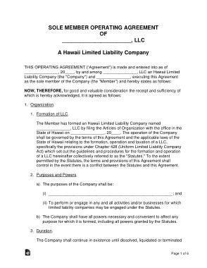 Free Download PDF Books, Hawaii Single Member LLC Operating Agreement Form Template