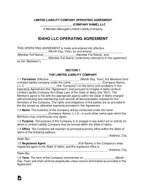Free Download PDF Books, Idaho Multi Member LLC Operating Agreement Form Template