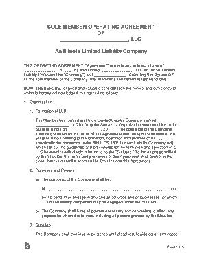 Free Download PDF Books, Illinois Single Member LLC Operating Agreement Form Template
