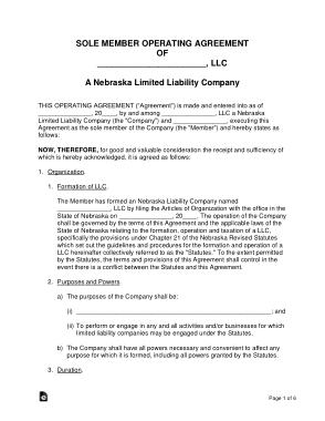 Free Download PDF Books, Nebraska Single Member LLC Operating Agreement Form Template