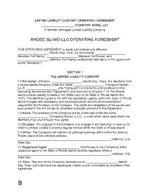 Free Download PDF Books, Rhode Island Multi Member LLC Operating Agreement Form Template