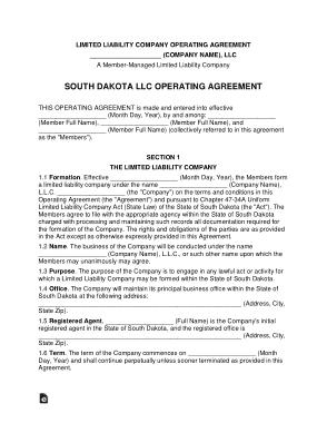 Free Download PDF Books, South Dakota Multi Member LLC Operating Agreement Form Template