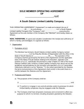 Free Download PDF Books, South Dakota Single Member LLC Operating Agreement Form Template