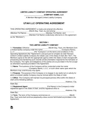 Free Download PDF Books, Utah Multi Member LLC Operating Agreement Form Template