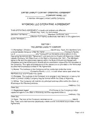 Free Download PDF Books, Wyoming Multi Member LLC Operating Agreement Form Template