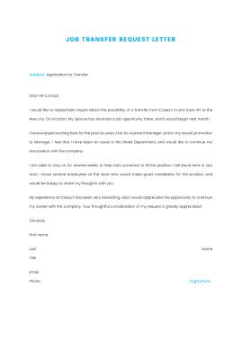 Free Download PDF Books, Sample Job Transfer Request Letter Template