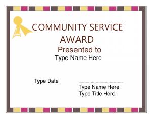 Free Download PDF Books, Community Service Award Certificate Template