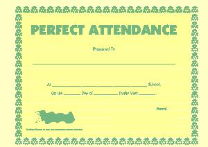 Perfect Attendance Simple Award Certificate Template