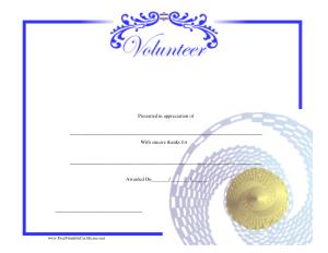 Printable Volunteer Service Award Certificate Template
