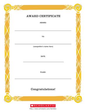 PS Award Certificate Template