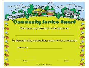 Sample Community Service Award Certificate Template