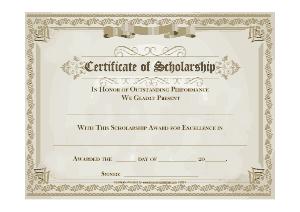Scholaship Award Certificate Template