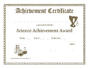 Science Achievement Award Certificate Template