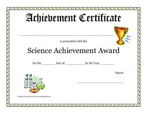 Science Achievement Award Certificates Template
