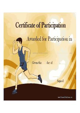 Sports Participation Award Certificate Template