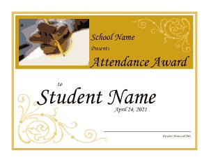 Free Download PDF Books, Student Attendance Award Certificate Template