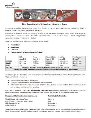 Volunteer Service Award Certificate Form Template