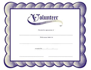 Volunteer Service Award Certificate Free Template