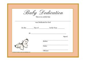 Free Download PDF Books, Tan Baby Dedication Certificate Template