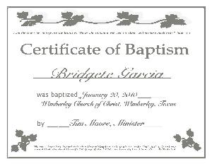 Download Baptism Certificate Template