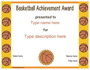 Free Download PDF Books, Basketball Achievement Award Template