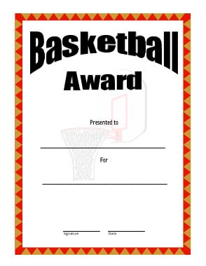 Free Download PDF Books, Basketball Certificate Award Template