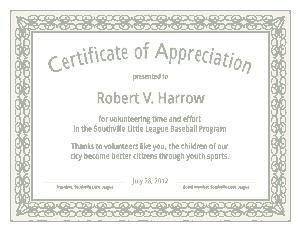Individual Certificate of Appreciation Template
