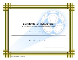 Sports Certificates of Achievement Template
