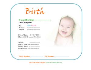 Free Download PDF Books, Child Birth Certificate Template