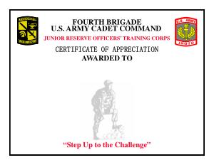 Free Download PDF Books, Brigade Certification of Appreciation Template