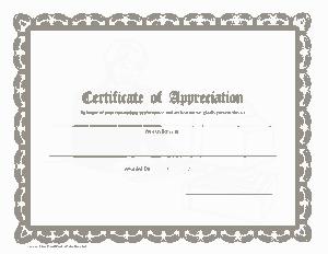 Printable Certificates of Appreciation Template
