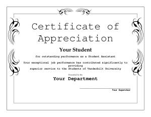 Sample Certificate of Appreciation Editable Template