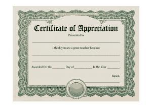 Teacher Appreciation Award Certificate Template
