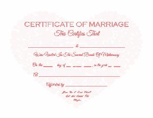 Sample Marriage Certificate Template